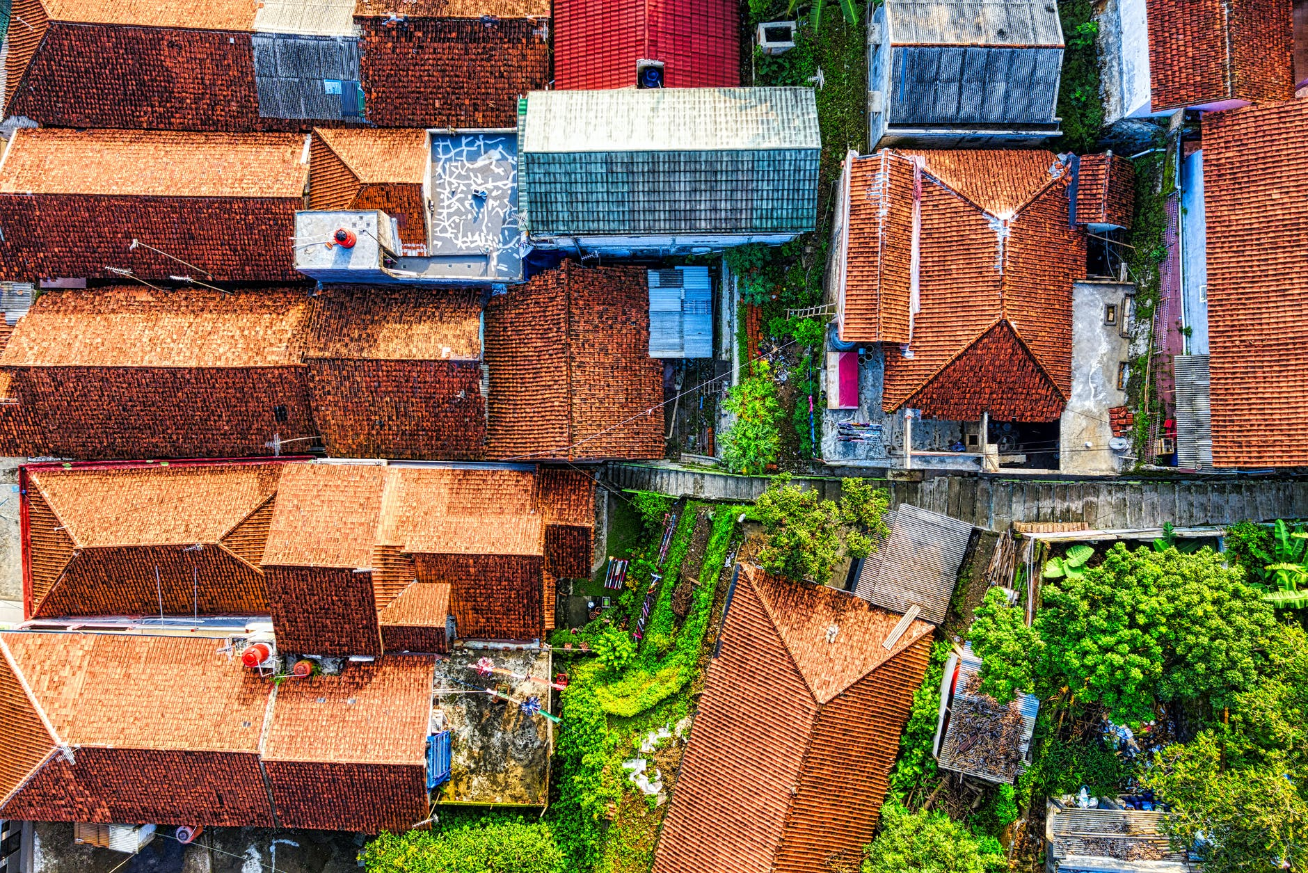 aerial photography of brown roofs